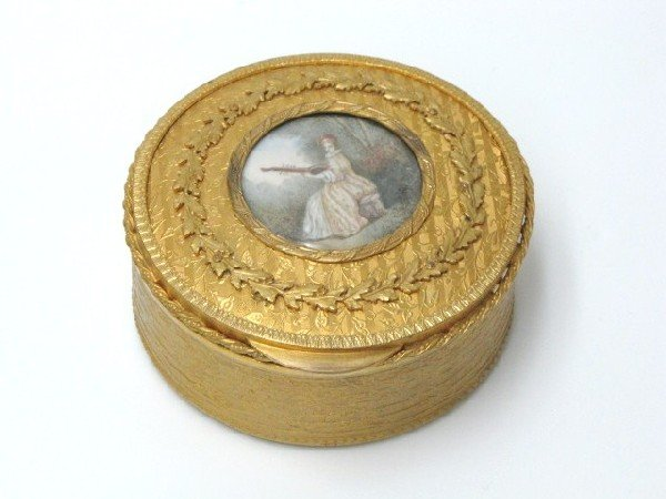 11: FRENCH GILT BRONZE BOX w/ PAINTING ON IVORY