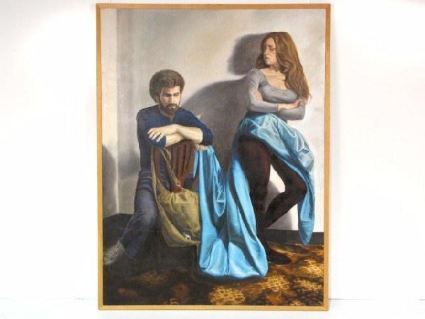 """74: E.P. BRICE 72""""X 54"""" MODERN PAINTING of a COUPLE"""