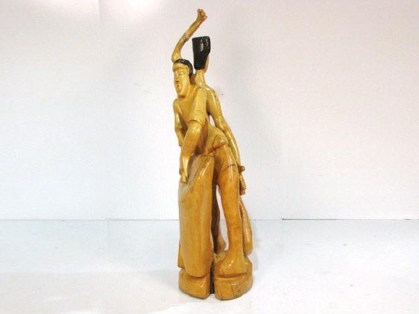"""84: JONATHAN T. ROLLINS 57"""" CARVED TRIBAL SCULPTURE"""