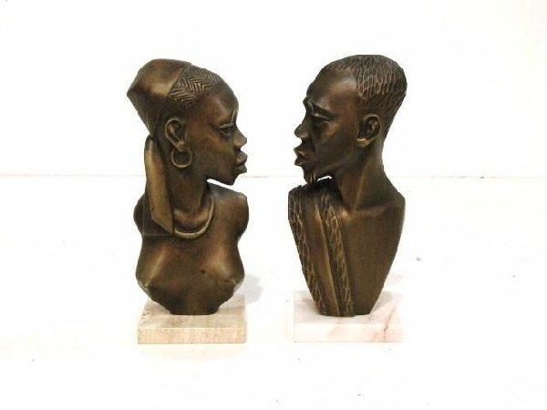 "95: Pr. 12"" MODERN BRONZE AFRICAN NATIVE FIGURES"