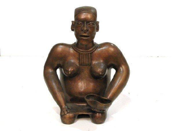 """96: 17"""" MODERN BRONZE AFRICAN NATIVE WOMAN"""