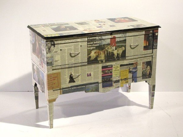 170: NEWSPAPER DECOUPAGE CHEST