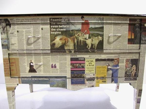 170: NEWSPAPER DECOUPAGE CHEST - 2