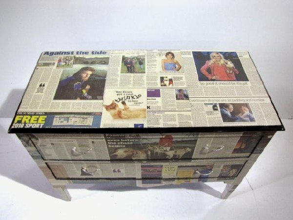 170: NEWSPAPER DECOUPAGE CHEST - 3