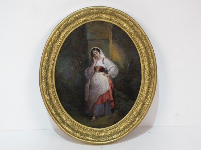 4: 19th c. OIL PAINTING of a YOUNG MAIDEN