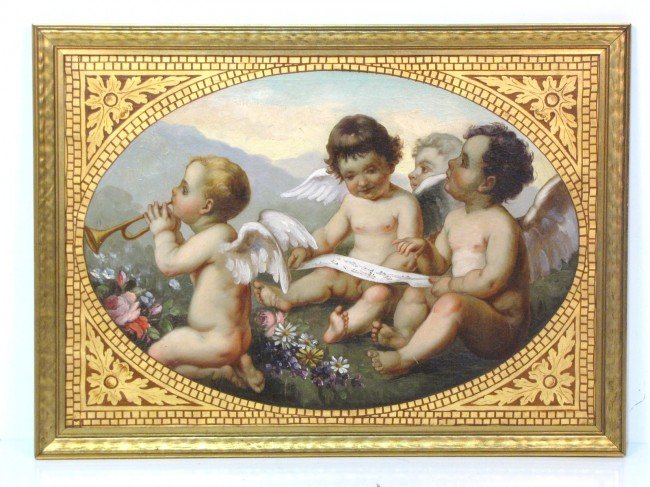 5: ANTIQUE OIL PAINTING of 3 PUTTIS