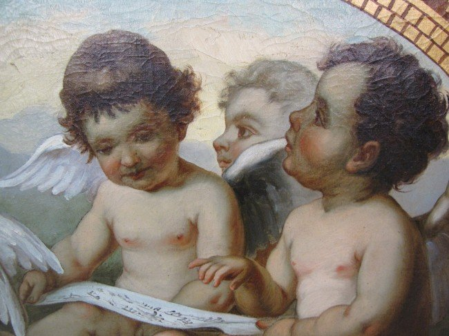 5: ANTIQUE OIL PAINTING of 3 PUTTIS - 2