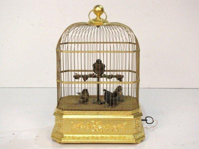 10: RARE ANTIQUE FRENCH BIRDCAGE AUTOMATON w/ 4 BIRDS