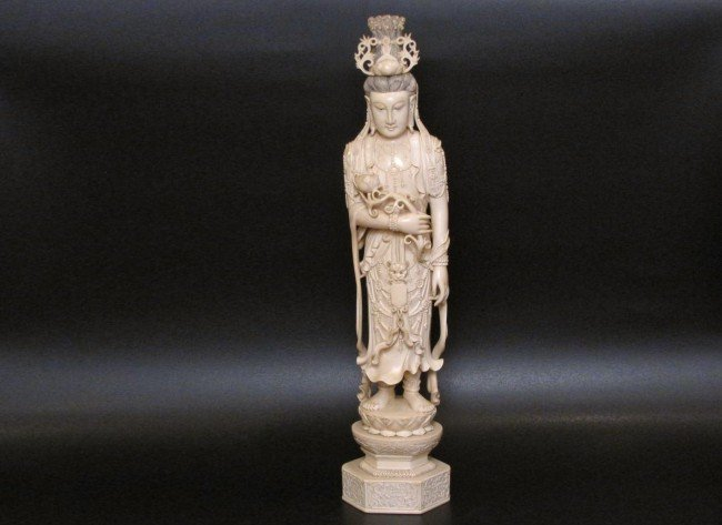 "16: ANTIQUE  CHINESE CARVED IVORY 21"" FIGURE of GUANYIN"