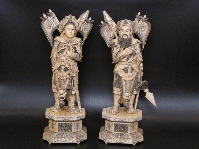 "17: ANTIQUE CHINESE CARVED IVORY 21"" EMPEROR & EMPRESS"