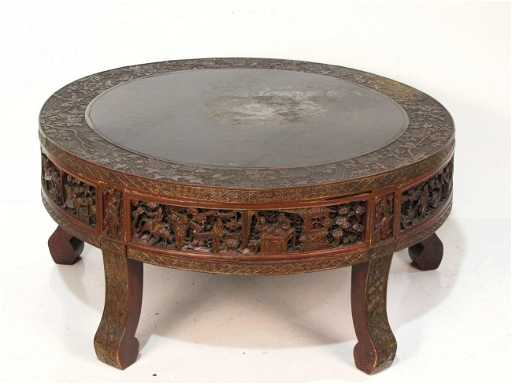 83 Antique Oriental Carved Round Coffee Table