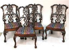 87: 4 GEORGIAN STYLE CARVED DINING CHAIRS