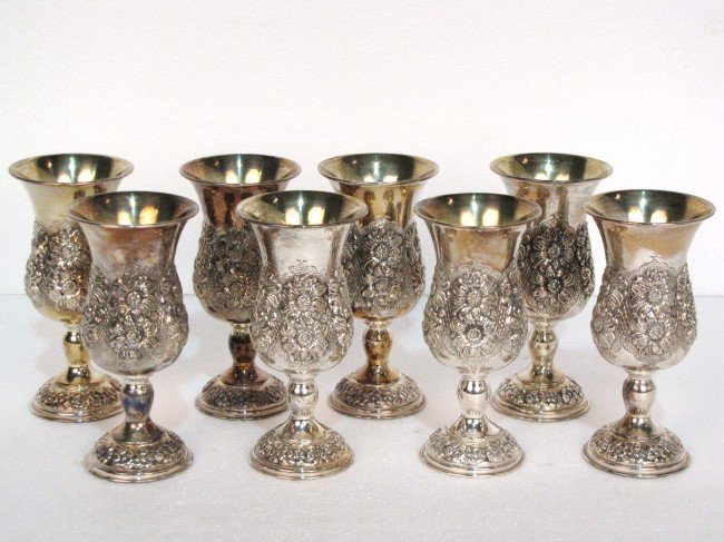 1: 8 STERLING SILVER REPOUSSE GOBLETS