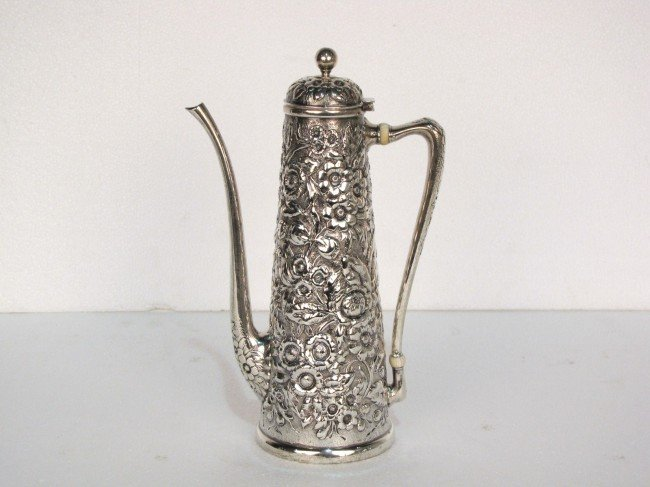 2: WHITING STERLING SILVER REPOUSSE CHOCOLATE POT