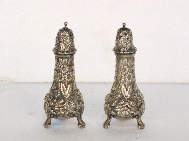 3: Pr. STERLING SILVER REPOUSSE SALT & PEPPERS