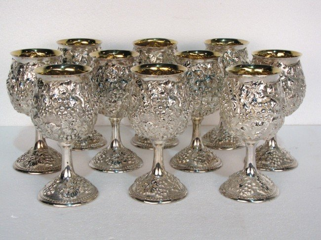 5: 10 GALMER STERLING REPOUSSE GOBLETS
