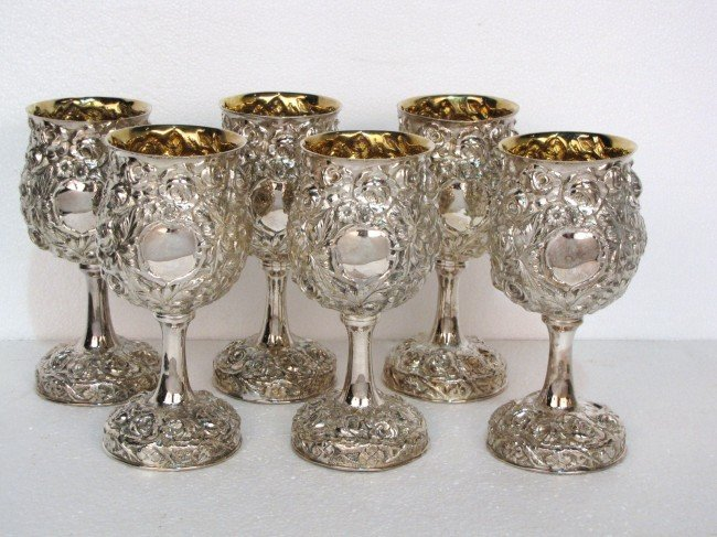 6: 6 GALMER STERLING REPOUSSE GOBLETS