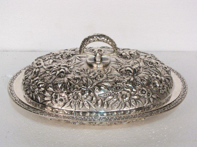 8: BALTIMORE STERLING SILVER Co. REPOUSSE COVERED DISH