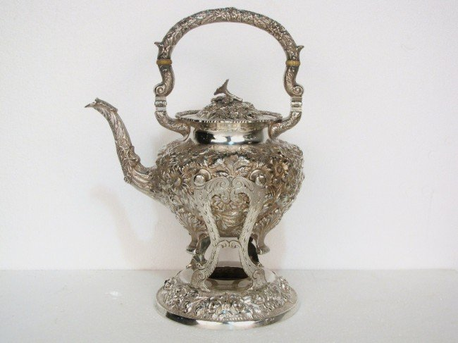 9: SCHOFIELD Co. STERLING SILVER REPOUSSE TEAPOT ON STA