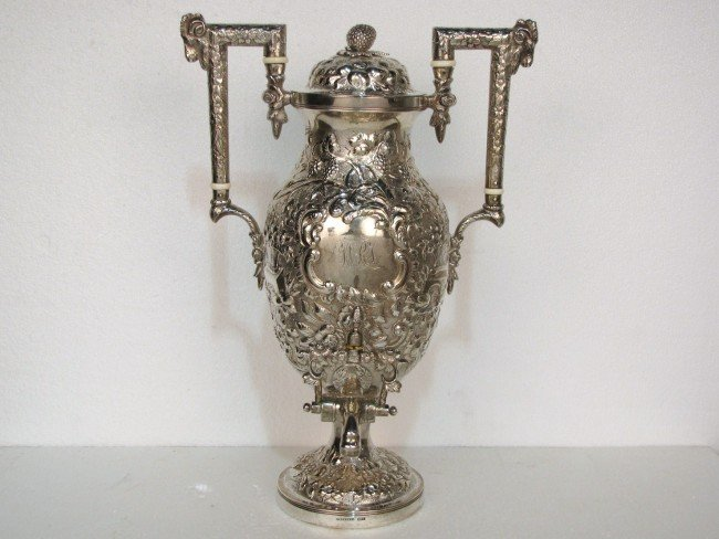 """10: A.E WARNER COIN SILVER REPOUSSE 15"""" COFFEE URN"""