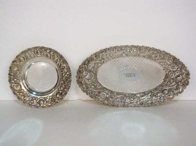 11: 2 PAUL GALE GREENWOOD STERLING SILVER REPOUSSE BOWL