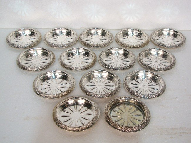 15: 14 KIRK & SON STERLING SILVER REPOUSSE COASTERS