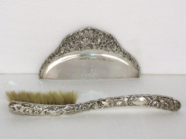 17: KIRK & SON STERLING SILVER REPOUSSE BRUSH & CRUMBER