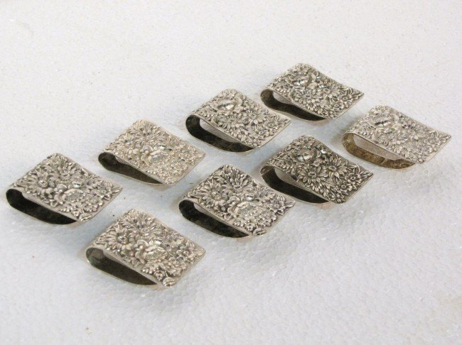 18: 8 KIRK & SON STERLING SILVER REPOUSSE NAPKIN CLIPS