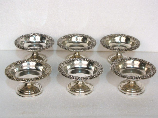 19: 6 KIRK & SON STERLING SILVER REPOUSSE SHERBETS