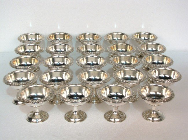 20: 24 KIRK & SON STERLING SILVER REPOUSSE SHERBETS