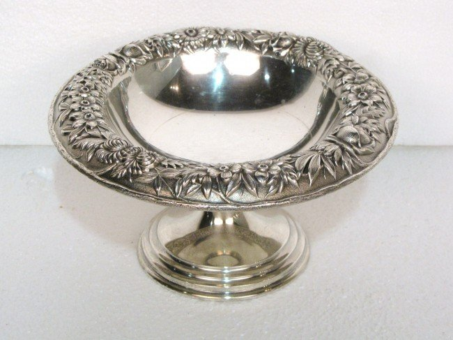 """23: KIRK & SON STERLING SILVER 7 1/2"""" REPOUSSE COMPOTE"""