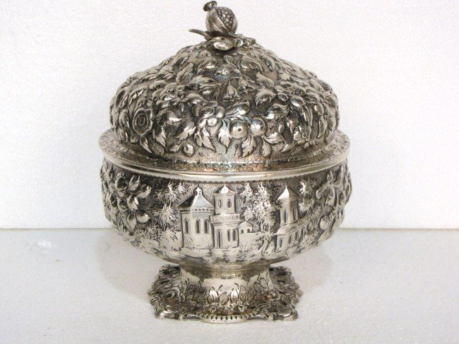 """27: 19th c. KIRK & SON COIN SILVER 6 1/2"""" COVERED BOWL"""