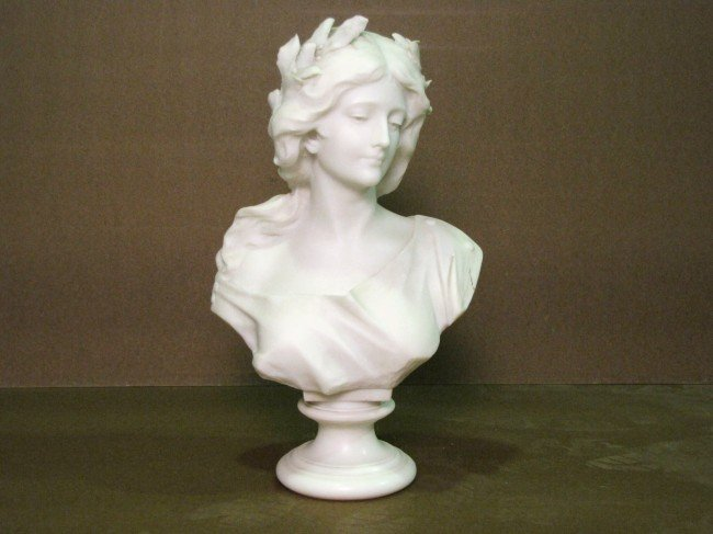 """278: G. PUGI 25"""" MARBLE BUST of a YOUNG MAIDEN"""