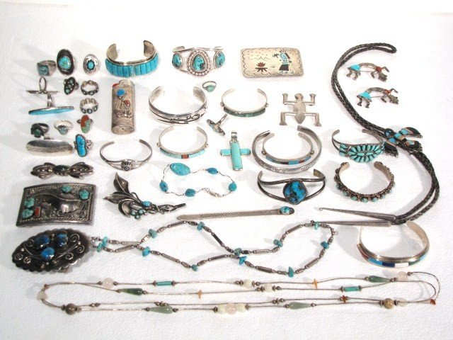 22: 42 pcs. NATIVE AMERICAN SILVER TURQUOISE JEWELRY
