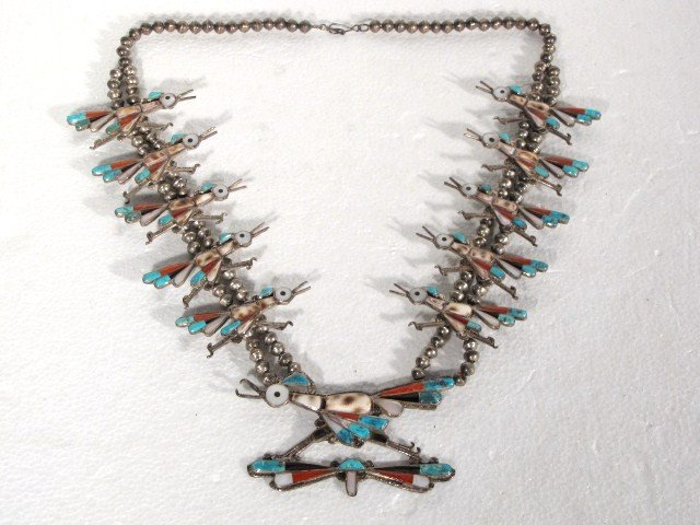 24: NATIVE AMERICAN SILVER & TURQUOISE NECKLACE