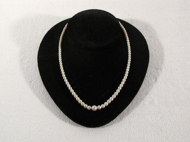 PEARL NECKLACE 14k CLASP w/DIAMONDS