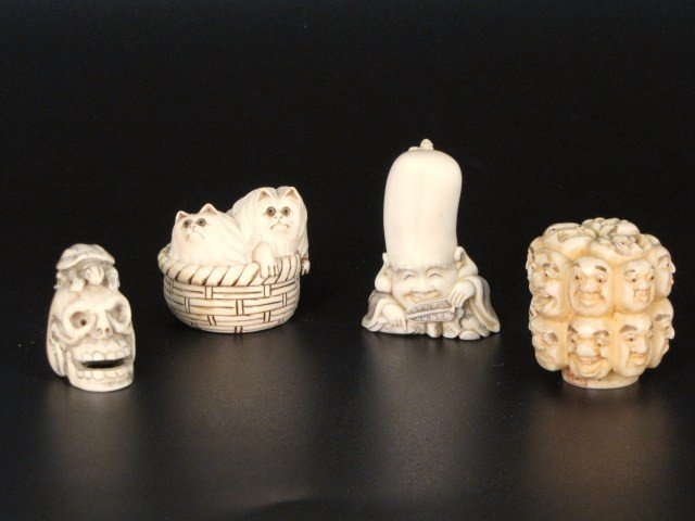 3: 4 SMALL JAPANESE IVORY CARVINGS