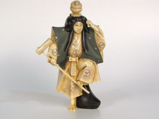 """13: 7"""" JAPANESE IVORY CARVING of a WARRIOR"""
