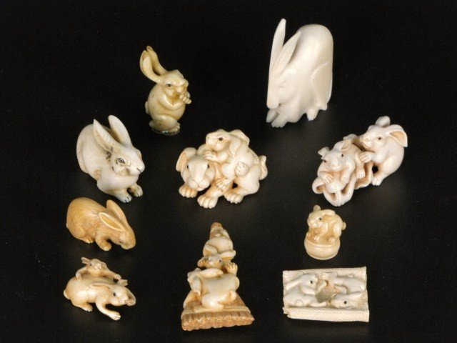 15: 10 IVORY CARVINGS of RABBITS