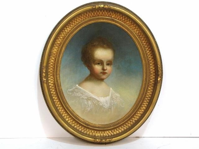 3: 19th c AMERICAN OVAL PORTRAIT PAINTING of YOUNG GIRL
