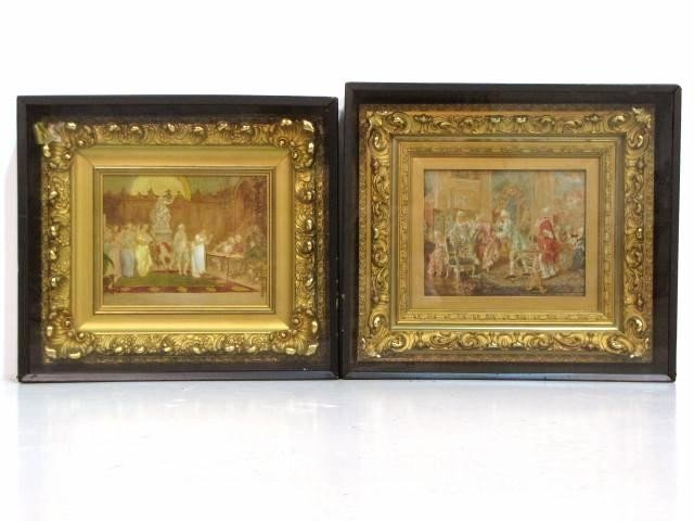 4: Pr. 19th c. OLEOGRAPH PAINTINGS OVER PRINTS