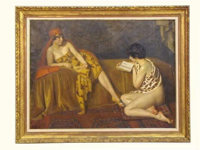 7: E. MOULIN PAINTING of HAREM GIRLS