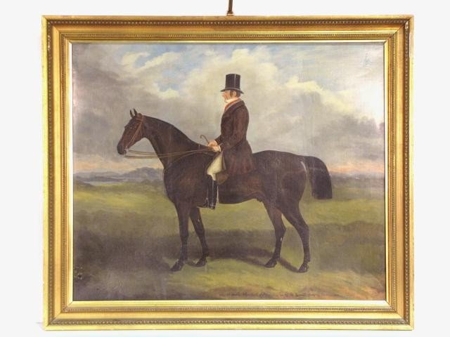 12: SPODE ENGLISH EQUESTRIAN PAINTING