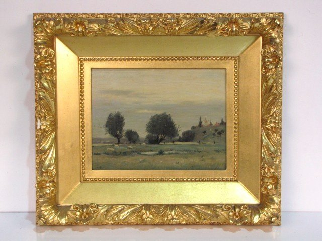 1: 19th c. LANDSCAPE PAINTING signed GHB