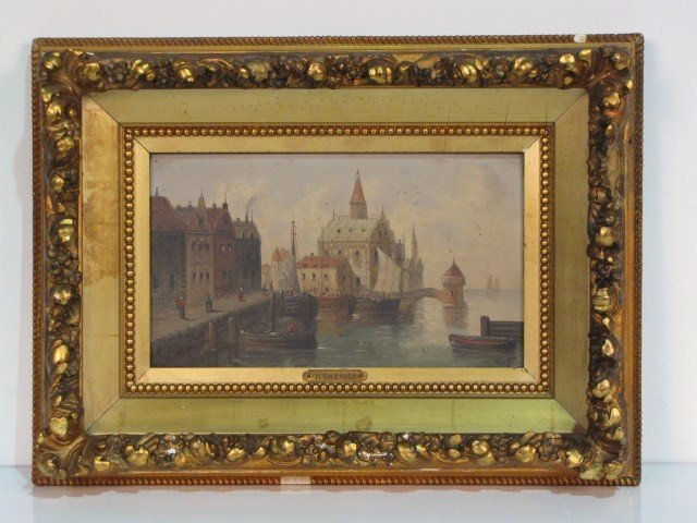 2: 19th c. CONTINENTAL OIL PAINTING HARBOR SCENE