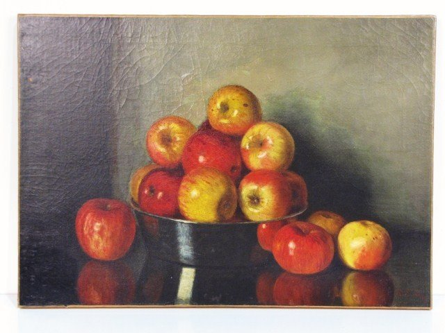 3: STILL LIFE PAINTING APPLES attributed R.S. DUNNING
