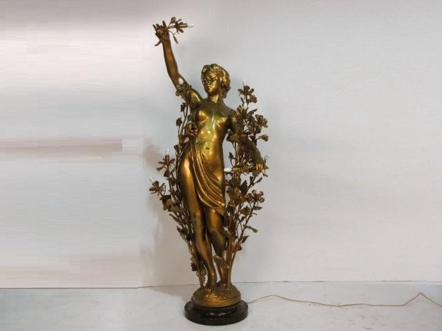 "21: 59"" ART NOUVEAU SPELTER FIGURE of a NUDE"