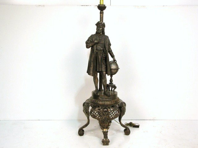 22: LARGE VICTORIAN FIGURAL OIL LAMP of COLUMBUS