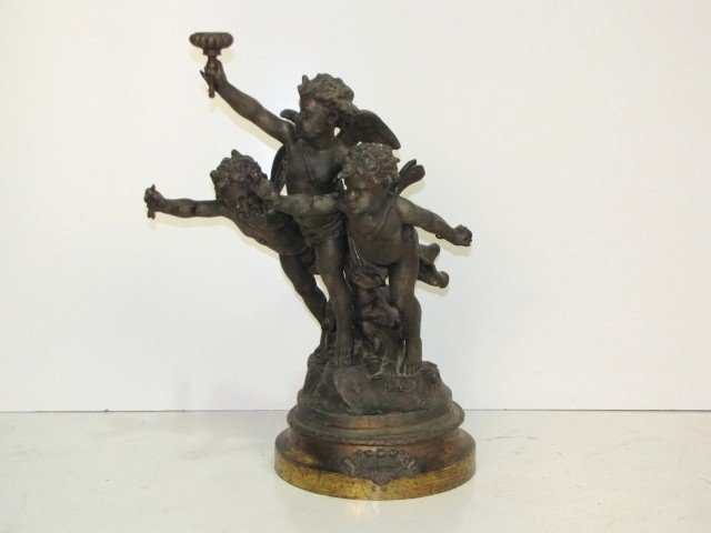 "23: 25"" GREGOIRE SPELTER SCULPTURE of CHERUBS"