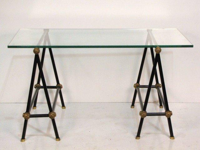 55: JANSEN BRONZE & EBONIZED METAL SAWHORSE TABLE